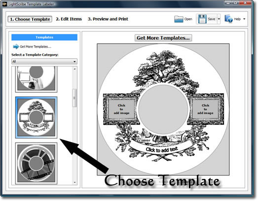 LightScribe template labeler - Choose Template